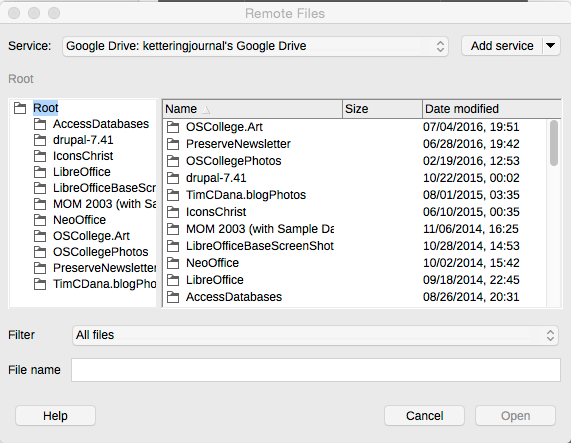connecting LibreOffice to Google Drive