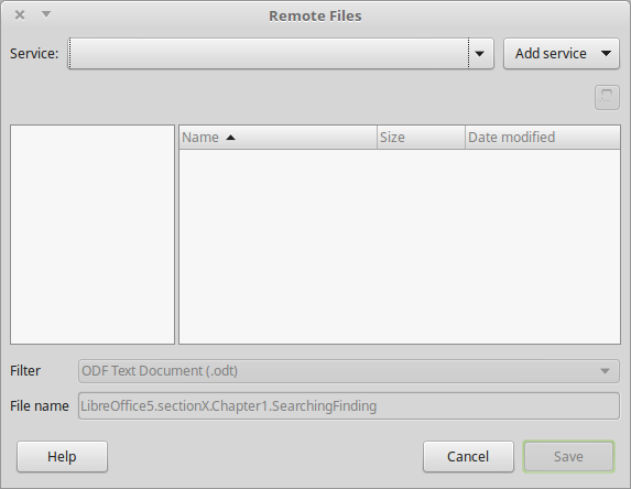 Remote Files dialog in LibreOffice