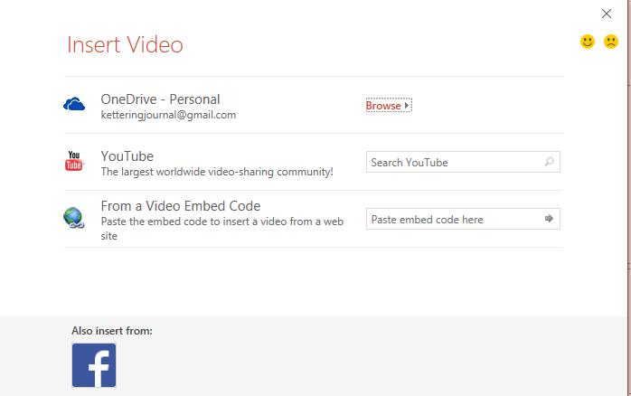 Insert video dialog PowerPoint for Windows