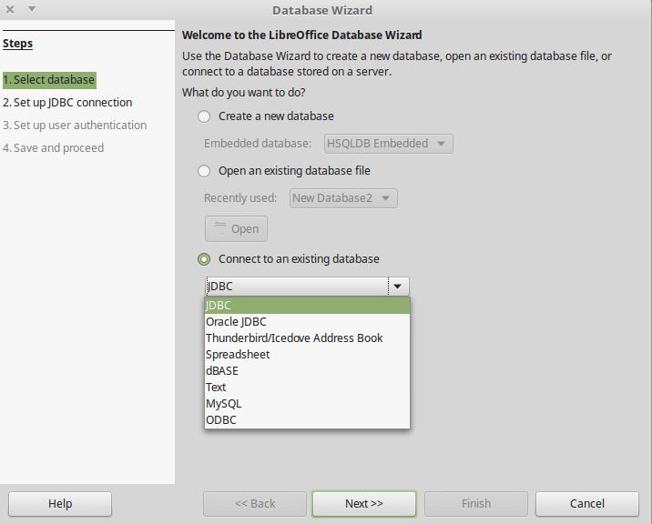 LibreOffice Base database choices