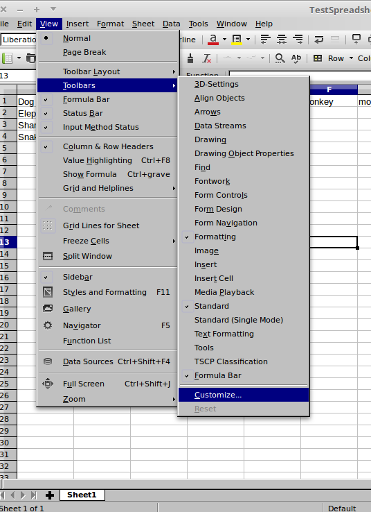 Customize toolbar LibreOffice Calc