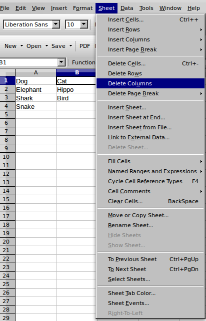 Delete one column LibreOffice Calc, Sheet menu