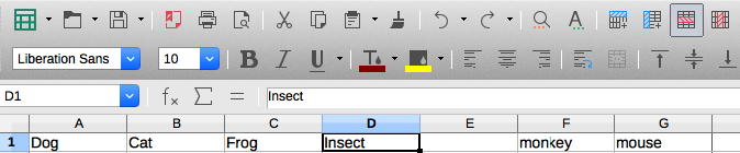 Delete column LibreOffice Calc, standard toolbar