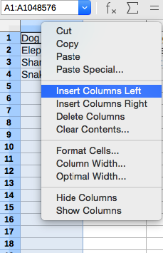 Insert one column LibreOffice Calc, right-click menu