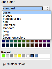 LibreOffice Draw Line Color palettes drop-down menu