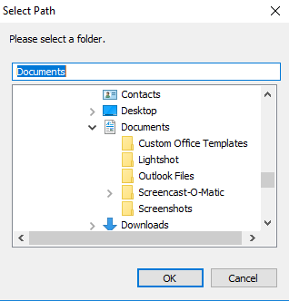 Select Path window LibreOffice Template Manager