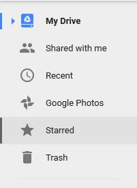 Google Drive Starred item