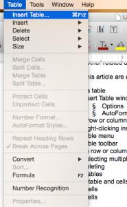 LibreOffice Writer Inserting Table item