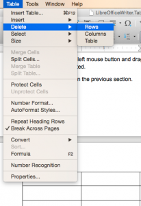 LibreOffice Writer Delete sub-menu