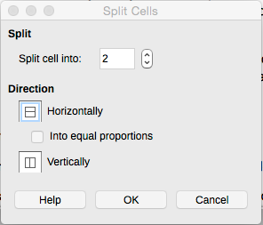 LibreOffice Writer Split Cells window