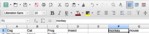 Add one row standard toolbar LibreOffice Calc