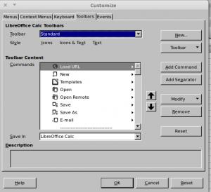 Customize window LibreOffice Calc, toolbar tab