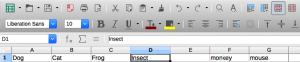 Insert one column LibreOffice Calc, standard toolbar