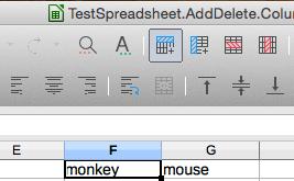 Insert column LibreOffice Calc, Standard toolbar