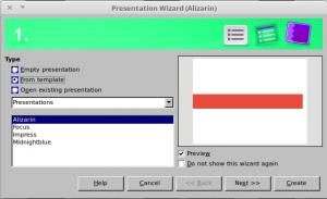 Presentation wizard Step 1 LibreOffice