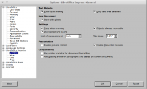 Selecting Presentation wizard at document creation