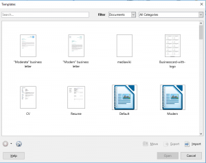 Template Manager for LibreOffice version 5.3