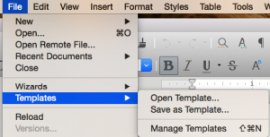 LibreOffice Template Manager in File menu