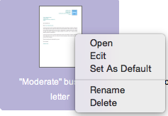 Right-click menu in LibreOffice Template Manager