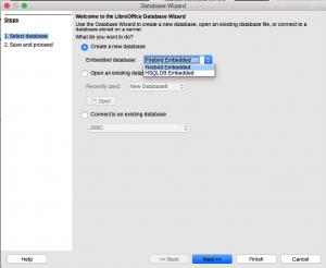 LibreOffice Base Database Wizard Step 1