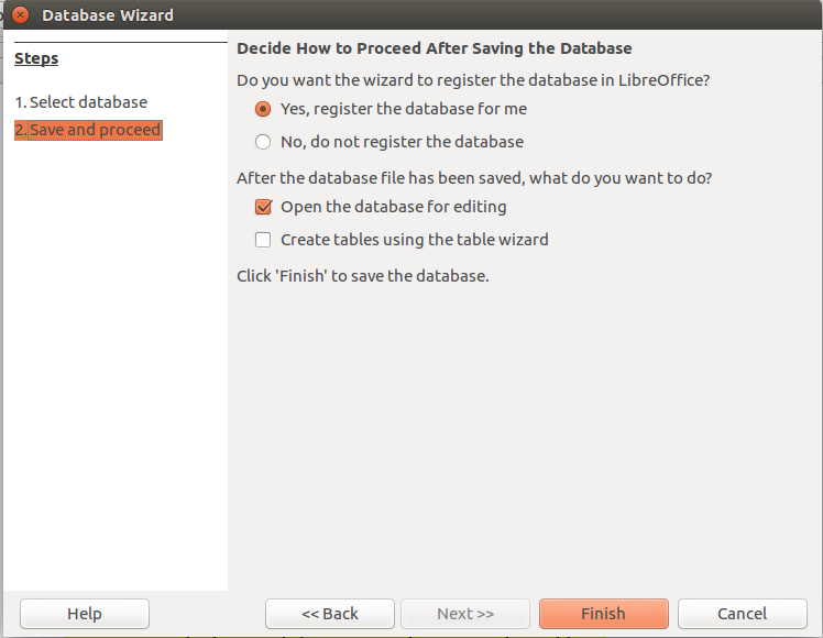 LibreOffice Base Database Wizard Step 2