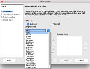 LibreOffice Base Table Wizard Step 1