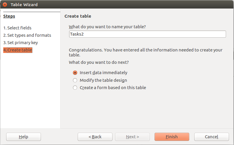 LibreOffice Base Table Wizard Step 4