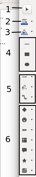 Draw toolbar in LibreOffice Draw