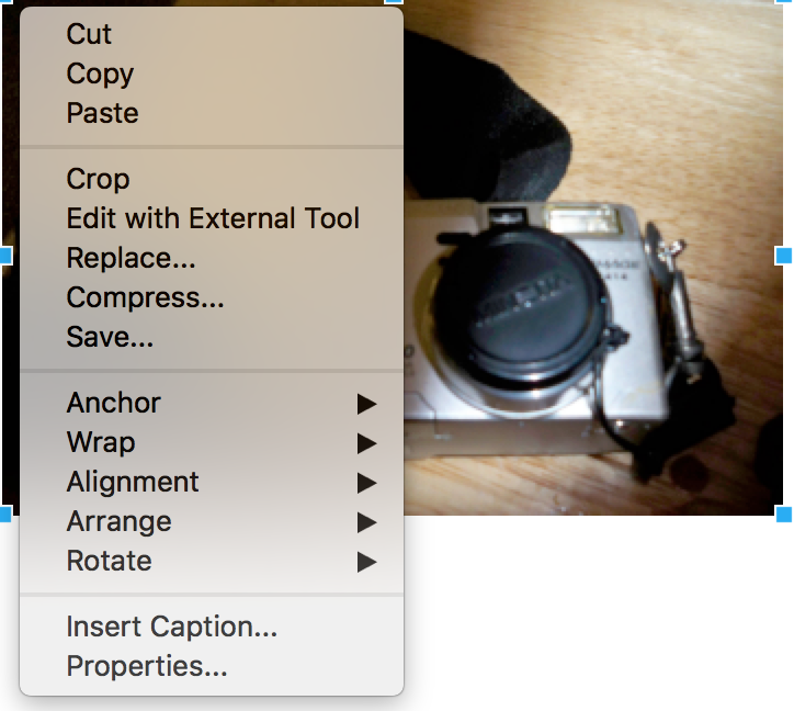 Context menu for images in LibreOffice Writer