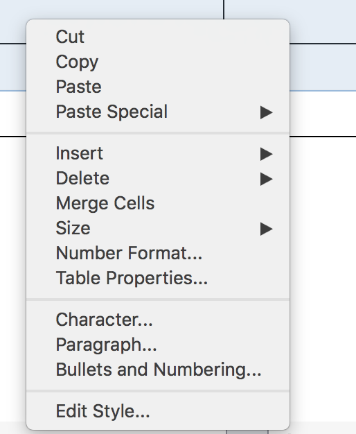 Context menu for multiple selected cells in a table in LibreOffice Writer