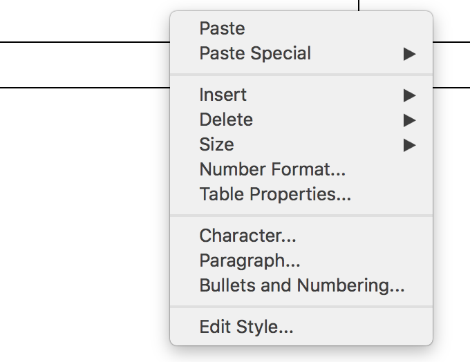 Context menu for an unselected table in LibreOffice Writer