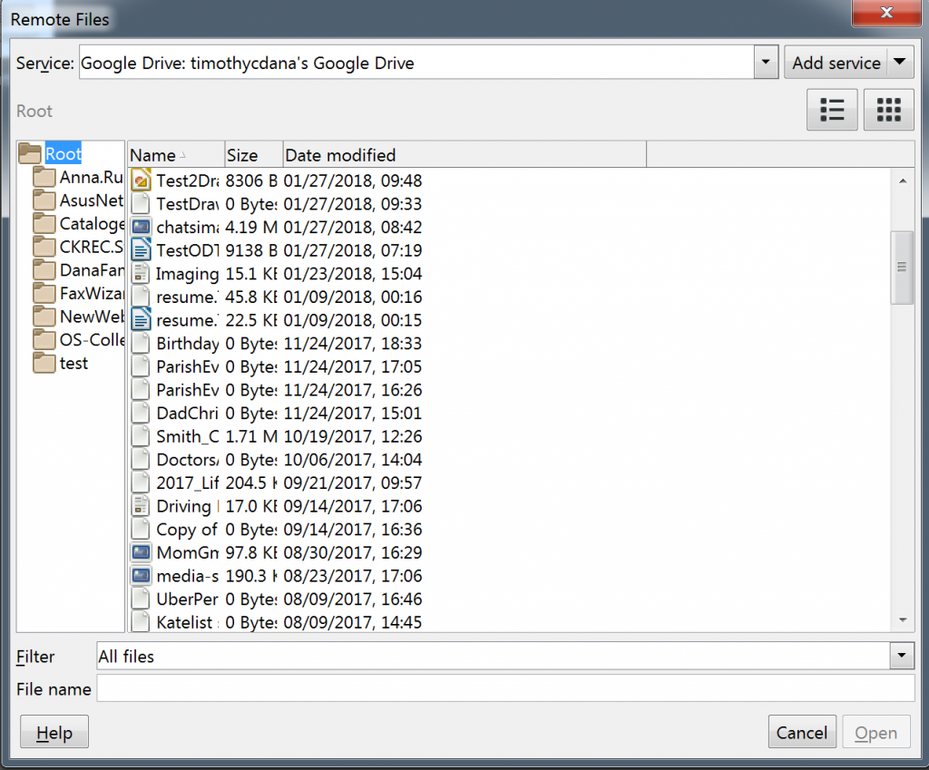 A list of files in Google Drive in LibreOffice's Remote Files dialog