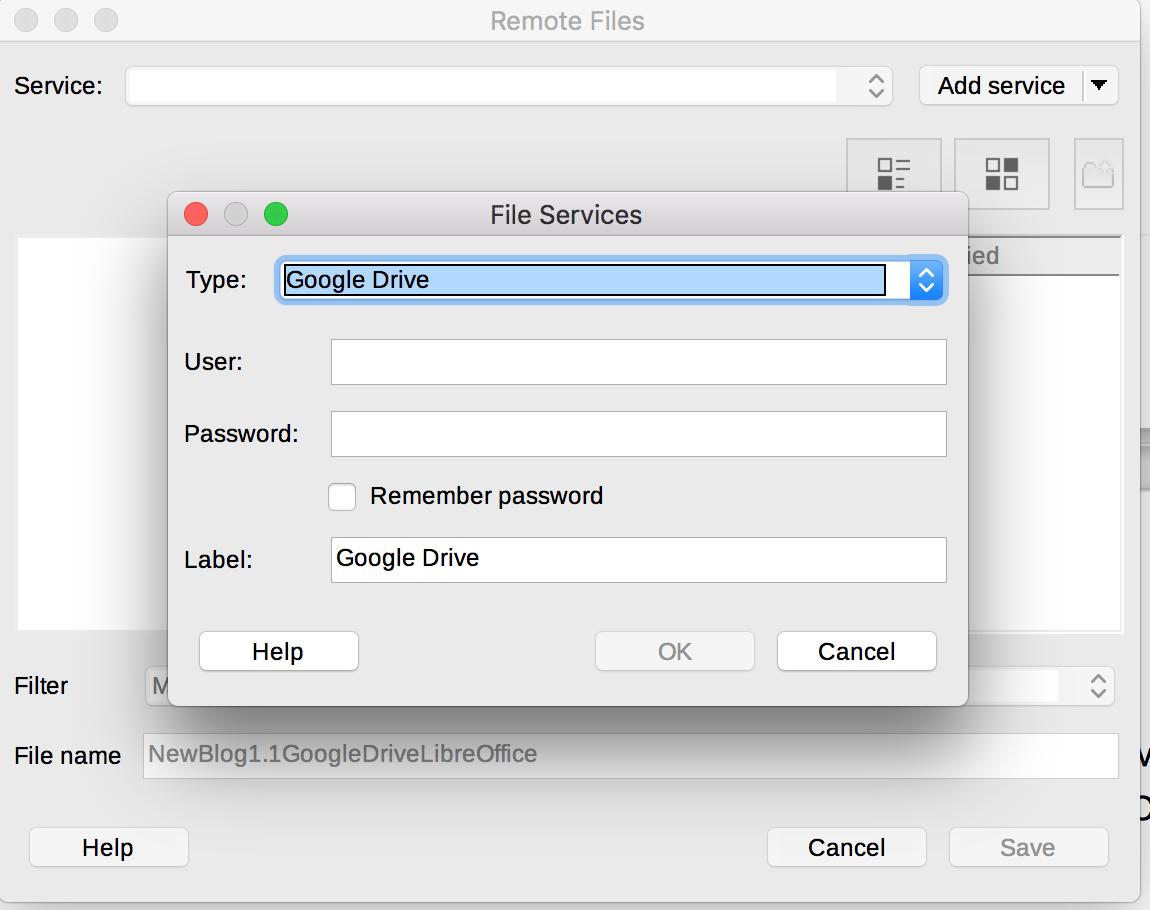 LibreOffice Remote Servers dialog