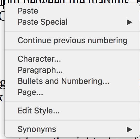 Context menus in LibreOffice Writer