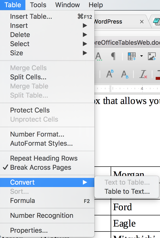 Convert table to text in LibreOffice Writer