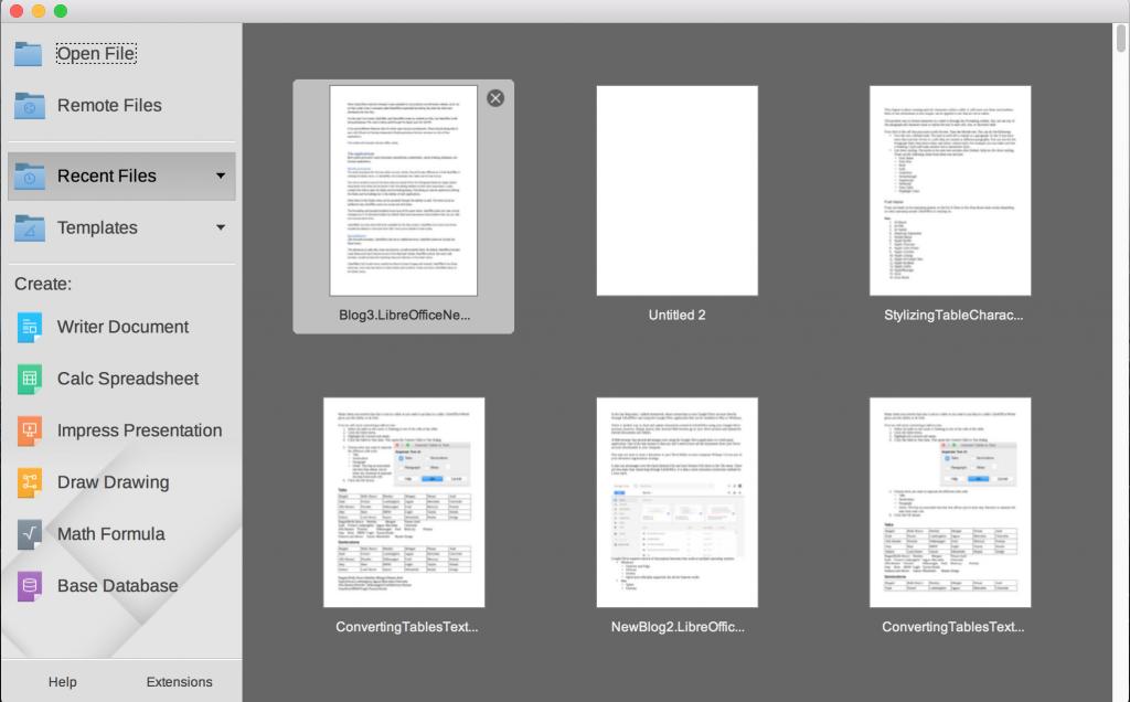 LibreOffice StartCenter in Mac