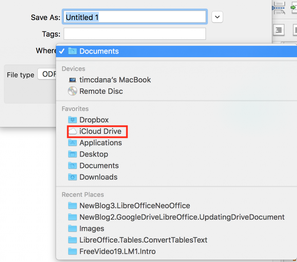 NeOffice save document to iCloud