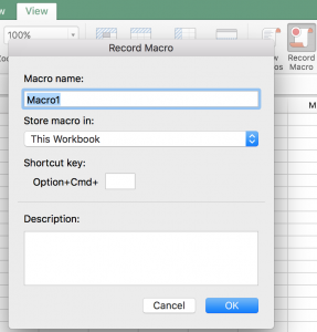 Record Macro in Excel for Mac