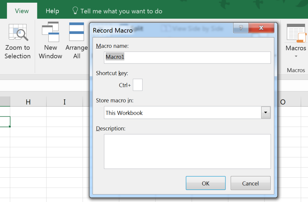 Record Macro in Excel for Windows