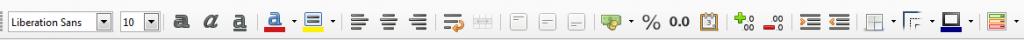 LibreOffice Calc Formatting toolbar