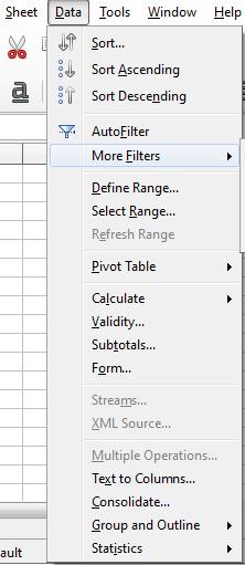 LibreOffice Calc Sheet and Data menus