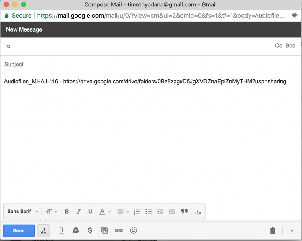 Gmail message dialog
