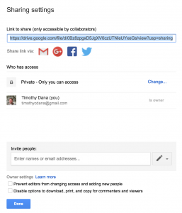 Share settings dialog in Google Drive