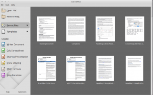 Recent documents in LibreOffice StartCenter