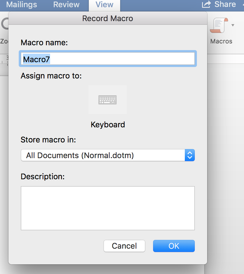 Record Macro in Word for Mac