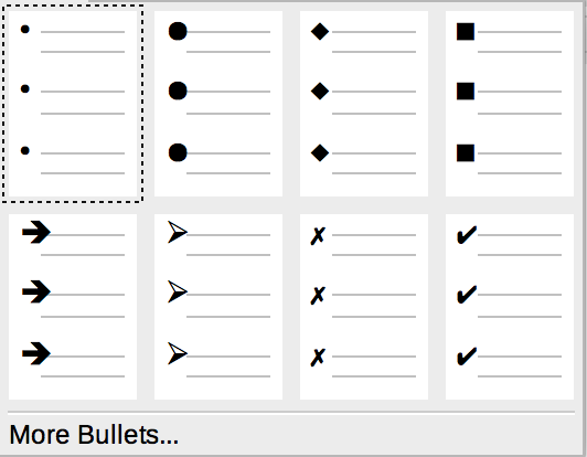 Bulleted drop-down list in Formatting toolbar in LibreOffice Writer