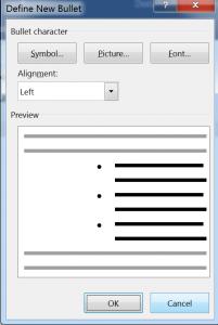 Define Bullet List in Microsoft Word