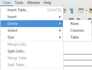Delete sub-menu in Table menu