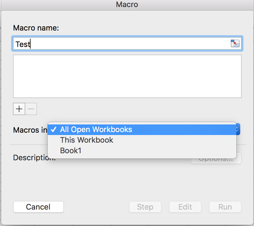 Excel for Mac macro dialog
