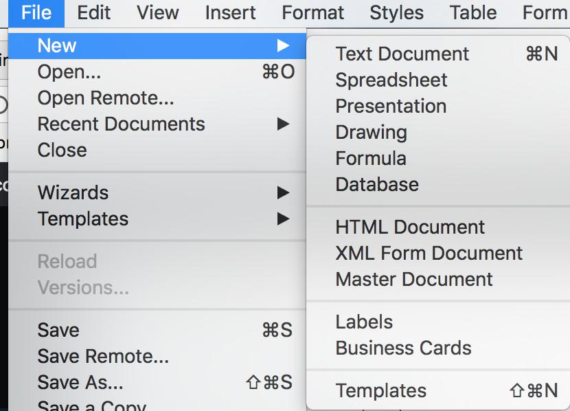 File menu in LibreOffice applications